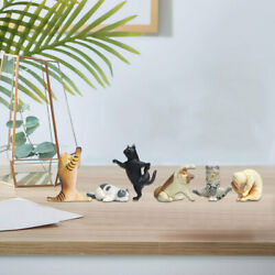 6pcs Pvc Yoga Cat Figures Statues Figurines Learning Home Decor Collectibles