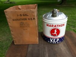 Nos Investment Quality 1950and039s Marathon Vep 5 Gal Oil Can With The Original Box