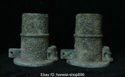 Old China Chinese Ancient Bronze Ware Dynasty Palace Che Horse Tool Statue Pair