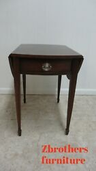 Ethan Allen Newport Flame Mahogany Banded Butterfly Drop Leaf Lamp End Table B