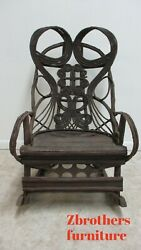 Antique Victorian Will Branch Adirondack Rocking Chairs Ornate Black Forest A