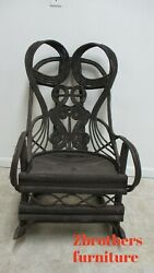 Antique Victorian Willow Branch Adirondack Rocking Chairs Ornate Black Forest A