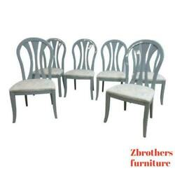 6 Vintage Lacquer Gun Metal Gray Century Furniture Dining Room Side Chairs Set