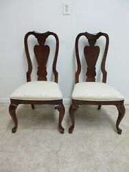 Pair Stanley Solid Cherry Queen Ann Dining Room Side Chairs A