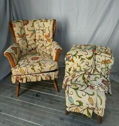 Heywood Wakefield Furniture - Vintage Crewel Embroidered Chair W/ Xtra Fabric