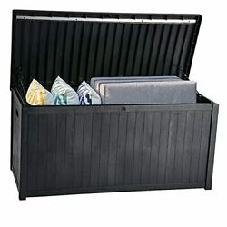 Large Deck Boxoutdoor Storage Container 120 Gallon For Outdoor Pillows Black