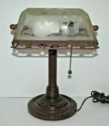 Bronze Metal Bankers Desk Piano Lamp Frosted Glass Etched Floral Design