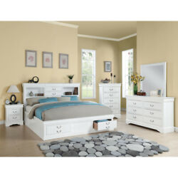 Saltoro Sherpi Luxurious And Stylish Queen Size Bed With Storage, White