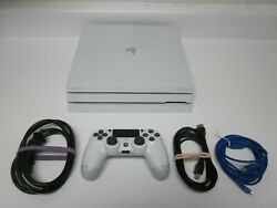 Playstation 4 Pro 1tb 4k Console White Ps4 Pro +controller +cords Cuh-7015b Nice