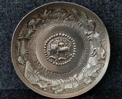 Rare Antique Byzantine Style Ottoman Hand Forged Engraved Sterling Silver Bowl