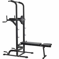Power Tower Dip Station High Capacity 800lbs W/weight Sit Up Bench Adjustable He