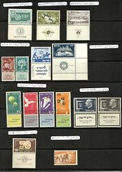 Israel 1949-1952 Early Stamps With Tabs U/m Cat £702.00
