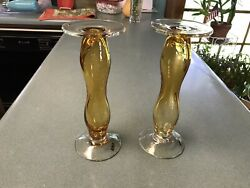 Tag Artisan Candle Holders Amber clear Hand Blown Glass Candle Stands