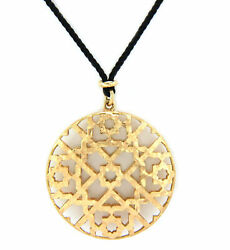 And Co. Picasso Large Marrakesh 18k Yellow Gold Medallion Cord Necklace