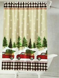 Christmas Red Truck Fabric Shower Curtain Holiday Buffalo Check Farmhouse New