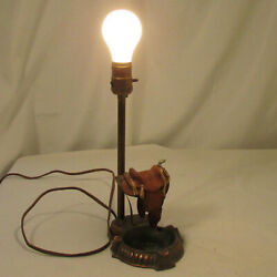 Vintage Rustic Western Table Lamp With Ashtray And Miniature Leather Saddle
