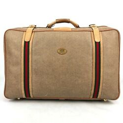 Beige Canvas / Leather Travel Bag Trunk Suitcase W Signature Web And Gg Logo