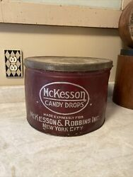 Giant Tin Pharmacy General Store Antique Mckesson Robbins Candy Drops Nyc