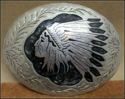 Awesome Vintage Native American Indian Chief Hand Made Western Belt Buckle