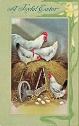Vintage Easter Postcard CHICKENS amp; EGGS IN HAY EMBOSSED UNPOSTED