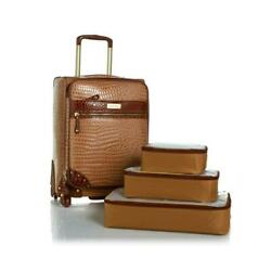 Samantha Brown 21 Upright Spinner With 3-piece Packing Cubes - Caramel