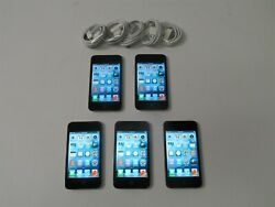 Lot Of 5 Black Apple Ipod Touch 4th Gen 8gb Mp3 Players A1367 Bundle