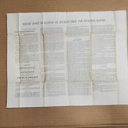 Masonic Constitution/by-laws 1849 Illinois Broadside, Stampless Cover, Peoria