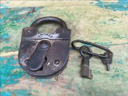 Antique Old 2 Touren Iron Hand Forged Pad Lock Made In Germany Working
