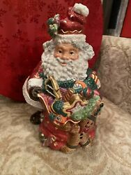 Fitz And Floyd Essentials Santa With Toy Sack Christmas Cookie Jar Retired.