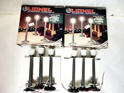 Two Sets Of Lionel 12874 Street Lamps For O Gauge Toy Train Layouts-ln W Boxes