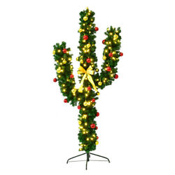 Costway 6ft Pre-lit Cactus Christmas Tree Led Lights Ball Ornaments