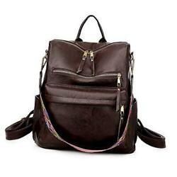 Women Fashion Backpack Purse Convertible Daypack Colorful Strap Coffee $44.34