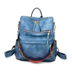 Women Fashion Backpack Purse Convertible Daypack Colorful Strap Shoulder Blue $44.34