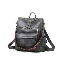 Women Fashion Backpack Purse Convertible Daypack Colorful Strap Shoulder Gray $41.30