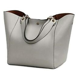 Tote Handbags for Women Faux Leather Hobo Bags Large Bucket Travel Purse Gray $42.50