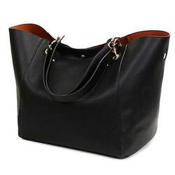 Tote Handbags for Women Faux Leather Hobo Bags Large Bucket Travel Purse Black $45.55