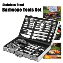 26pcs Bbq Grill Accessories Tools Set Stainless Steel Grilling Barbecue Case