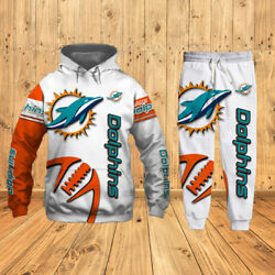 Miami Dolphins Men's Tracksuit Set Hoodie Sweatpants Jogging Sportswears Gifts
