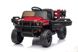 12v Ride On Tractor With Detachable Trailer Truck Car Toy For Kids Toddler Red