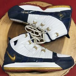 Nike Zoom Lebron 3 Iii Sample Navy Blue Gold Red Remix Complex Superman Size 7.5