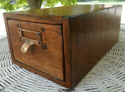 Antique Oak Globe One Drawer File Cabinet 3x 5 Card 7x5x11+ Overall