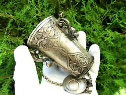 Antique Orthodox Russian Silver Hanging Vigil Oil Lamp With Chain