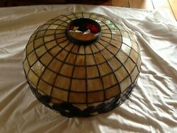 Antique Duffner And Kimberly Leaded Stained Slag Glass Shade Hanging Light Fixture
