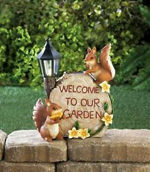 Squirrel Welcome Sign Solar Powered Led Light Lamp Post Outdoor Garden Statue