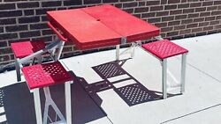 Vintage Red Handy Folding Suitcase Picnic Versa Table Chair Set Camping Beach