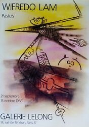 Wifredo Lam Pastels Galerie Lelong 1988 Signed Offset Lithograph Poster Wilfredo