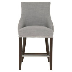 Saltoro Sherpi Fabric Upholstered Wooden Counter Stool With Nail Head Detail