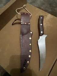 Vintage Schrade Old Timer 150t Fixed Blade Hunting Knife In Leather Sheath Usa