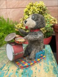Antique Rare Battery Musician Playing Drum Bear Wind Up Tin Toy Japan Working