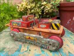 Antique Rare Battery Oprated Bulldozer Wind Up Tin Space Toy Japan Working